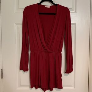 Burgundy Long Sleeve Romper from Blush Boutique